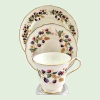Aynsley Bramble Time Bone China Luncheon Plate, Teacup, and Saucer Three-Piece Set