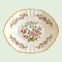 Paragon Bone China Pastel Blue and Pink Scrolls and Florals Oval Sweet Meat Dish