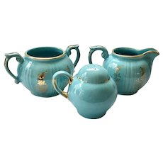 Turquoise Blue Pearl China Sugar, Creamer, and Shaker Hand Decorated 22-Karat Gold