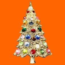 Christmas Tree Brooch Gold Tone Multicolor Round Rhinestones
