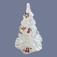 Fenton Glass Iridescent White Hand Painted Small Christmas Tree