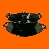 Mt. Pleasant Two-Handled Squared Black Glass 6-inch Bowl and Matching Underplate