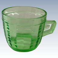 Hocking Block Optic Green Depression Glass Mug