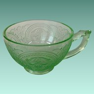 Indiana Number 612 'Horseshoe' Green Depression Glass Cup