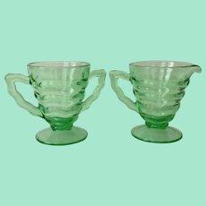 D. C. Jenkins Depression Glass Ocean Wave Green Rippled Cream and Sugar
