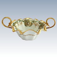 Bawo & Dotter Elite Works Limoges Early 1900s Green and Gold Filigree Nut Dish