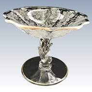 Fostoria Elegant Glass Italian Lace Etched Crystal Baroque Compote