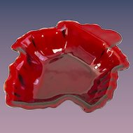 Anchor Hocking Glass Royal Ruby Leaf Shaped Candy or Dessert Bowl