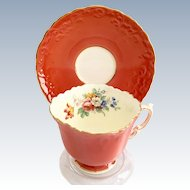 Aynsley Bone China Embossed Coral C511 Floral Interior Teacup and Saucer Circa 1930s