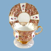 Collingwoods Staffordshire England Bone China Countess Gold Filigree Teacup and Saucer