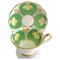 Royal Albert Green Panels Gold Trim Bone China Teacup and Saucer