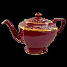 Hall China Maroon and Gold Hollywood Teapot