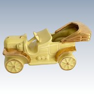 Old-Fashioned Yellow Convertible Automobile Planter with Gold Trim