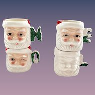 Set of Four NOEL Ceramic Santa Mugs Japan