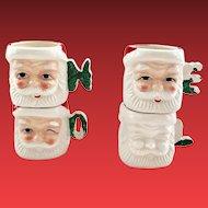 Set of Four NOEL Ceramic Santa Mugs Japan
