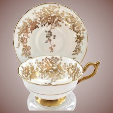 Coalport Bone China Orchid 10187 Gold on White Floral Teacup and Saucer
