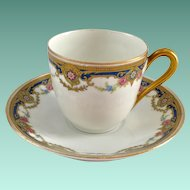 J. Boyer Limoges France Gold and Blue Floral Garland Demitasse Cup and Saucer
