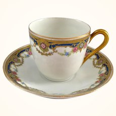 J. Boyer Limoges France Gold and Blue Floral Garland Demitasse Cup and Saucer