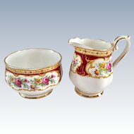 Royal Albert Bone China Lady Hamilton Burgundy Floral Sugar and Creamer