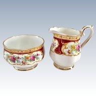 Royal Albert Bone China Lady Hamilton Burgundy Floral Sugar and Creamer