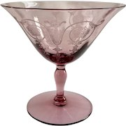 Fostoria Glass Vernon Etch 277 Low Sherbets in Orchid Late 1920s