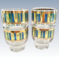 Mid Century Gold, Blue, and Green Striped Stacking Cocktail Glasses - Set of Four