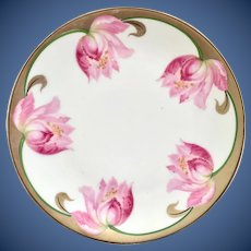 PV Kloster Vessra Germany Hand Painted Pink Tulips Plate Early 1900s