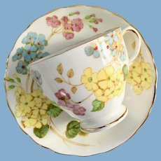 Tuscan Bone China Floral Enamel Centers C8792 Teacup and Saucer