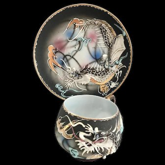 Moriage Dragonware Gold Rimmed Cup and Saucer Lithophane Geisha with Plaits Victora China