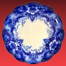Johnson Brothers Argyle Pattern Flow Blue Dinner Plate