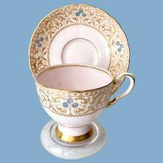 Tuscan Gold Filigree on Pink Ground 9059H Bone China Teacup and Saucer