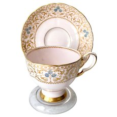 Tuscan Gold Filigree on Pink Ground 9059H Bone China Teacup and Saucer