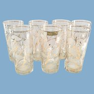 Culver Ice Flower Calla Lily 22K Gold Highball Glasses Set of Seven