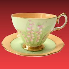 Bell China England 4648F Fragrance Pattern Lily of the Valley Bone China Teacup and Saucer