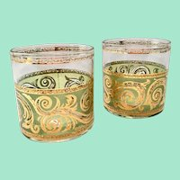 Culver Toledo Mid-Century Glass Green and 22K-Gold On-the-Rocks Tumblers Set of Two