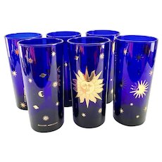 Culver Glass Cosmos Cobalt Blue with 22K-Gold Sun, Stars, and Planets Mid-Century Highball Tumblers Set of Six