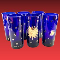Culver Glass Cosmos Cobalt Blue with 22K-Gold Sun, Stars, and Planets Mid-Century Highball Tumblers
