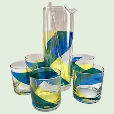 Lancaster Colony Blue and Yellow Glass Mid-Century Cocktail Mixer and Lowball Tumblers Set