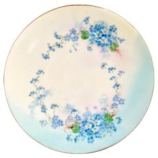 HP Artist Signed Blue Forget-Me-Not 6-5/8 inch Plate Early 1900s Favorite Hutschenreuther Bavaria