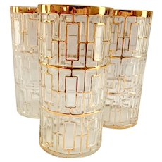 Imperial Glass Golden Shoji #104 22K-Gold Highball Tumblers - Set of Three