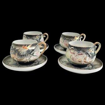 Moriage Dragonware Lithophane Geisha Teacups and Saucers Set of Four Acra China