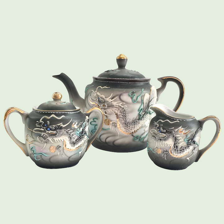 Moriage Dragonware 5-Piece Tea Set - Teapot, Covered Sugar, and Creamer  Made in Japan
