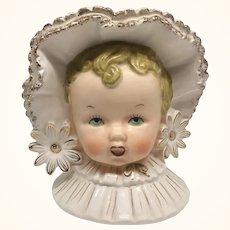 Napco Baby Girl Head Vase Large Flowers Bonnet Gold Trim #C2634B