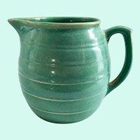 Weller Pottery Aqua Green 6-1/2 Inch Stoneware Utility Pitcher