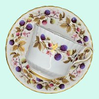 Royal Stafford Golden Bramble Bone China Straight-Sided Teacup and Saucer Berries Gold Leaves