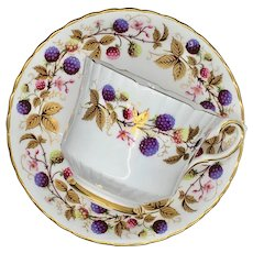 Royal Stafford Golden Bramble Bone China Footed Straight-Sided Teacup and Saucer Berries and Gold Leaves