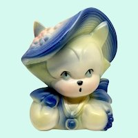 Hull Pottery Kitten Head Vase Planter #37 in Blue