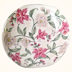 Otagiri Prima Mid-Century Pink and Green Floral Circle Vase