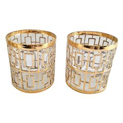 Imperial Glass Golden Shoji 22K Gold Hollywood Regency Style Old Fashioned/On The Rocks Tumblers - Set of Two