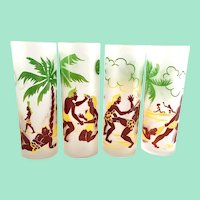 Federal Glass Cave Man Caricatures MCM Satin Frosted Zombie Tumblers Set of Four